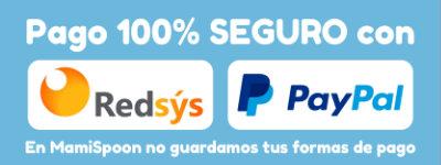 Pago 100% seguro con Redsys o PayPal: En MamiSpoon no guardamos tus formas de pago