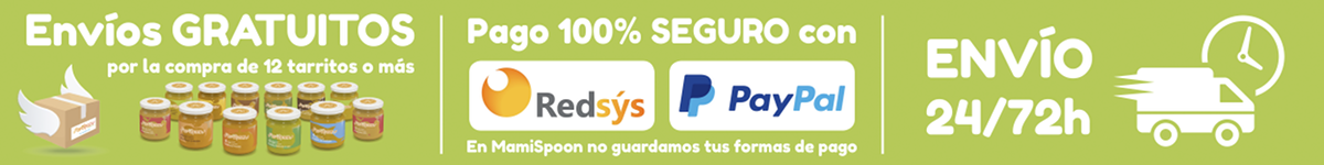 Envíos gratuitos por la compra de 12 tarritos o más, Pago 100% seguro con Redsys o PayPal y Envío 24/72 horas